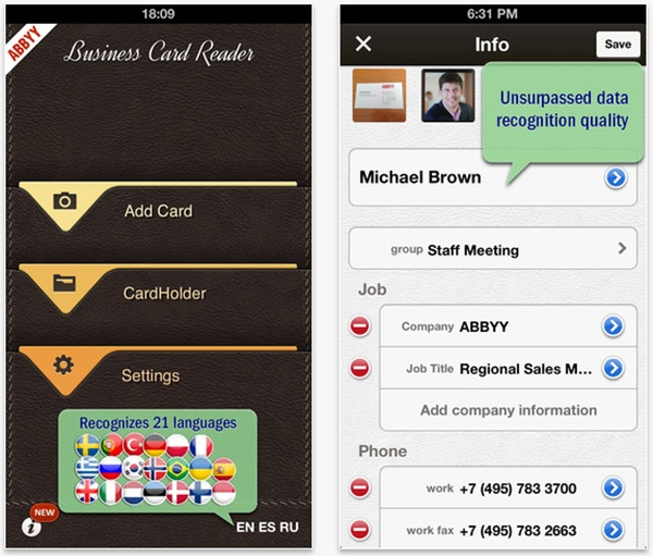 Abbyy business card reader adds new interactive interface cross usually get your business cards filtering options and a new personal card group in cardholder the update also adds a new and interactive interface to colourmoves