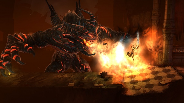 Grimvalor iOS screenshot - Fighting a fire breathing monster