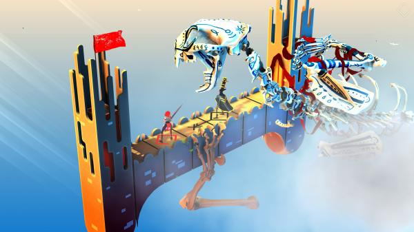 Euclidean Skies iOS preview screenshot - Fighting on a walkway with a demon nearby