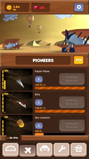Idle Skies screenshot - The main screen of the game