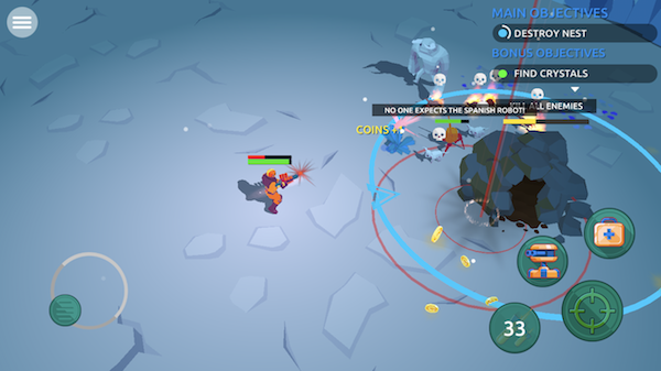 Space Pioneer iOS screenshot - A fight in the snow