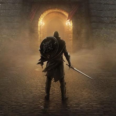 The Elder Scrolls: Blades iOS artwork - A warrior before a door