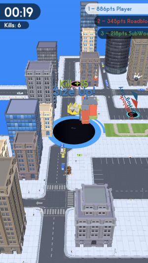 Hole.io screenshot - Eating buildings