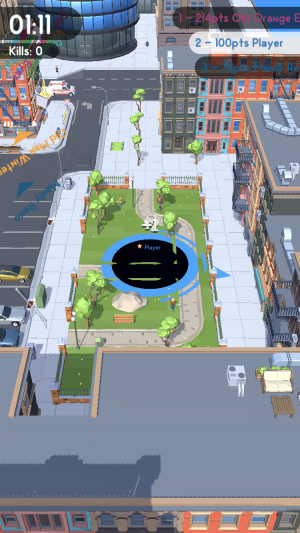 Hole.io screenshot - Eating the park