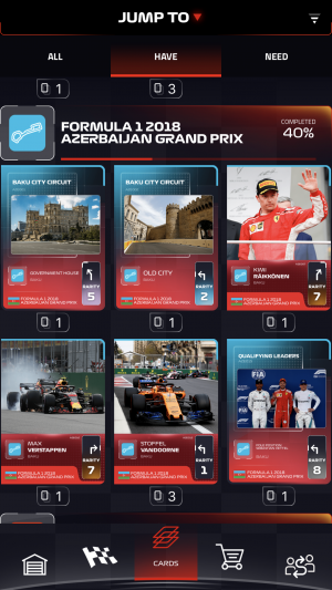 F1 Trading Card Game review screenshot - The collection screen
