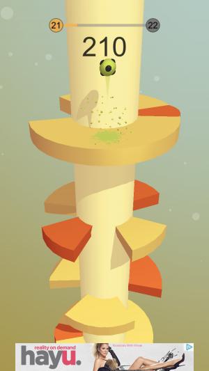 Helix Jump iOS guide screenshot - A yellow level