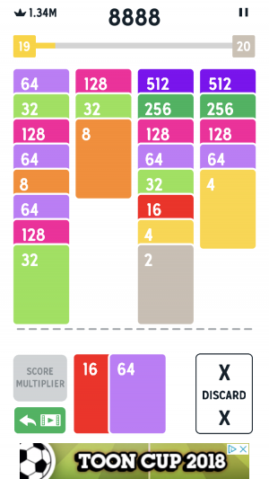Twenty48 Solitaire iOS guide screenshot - The stacks get longer