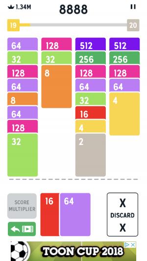 Twenty48 Solitaire iOS guide screenshot - The stacks get longer