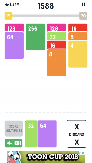 Twenty48 Solitaire iOS guide screenshot - The start of a game