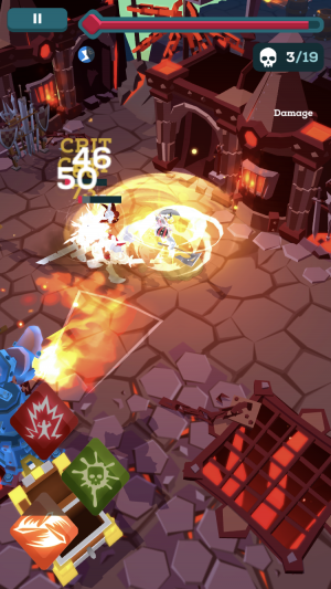 The Might Quest for Epic Loot iOS preview screenshot - A fire dungeon
