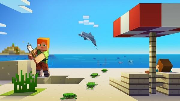 minecraft summer dolphin beach umbrella